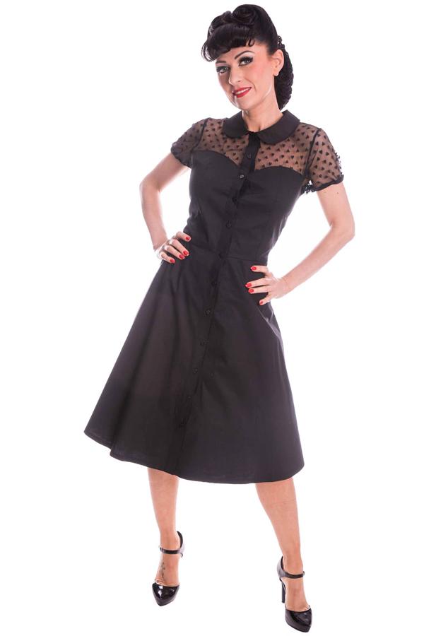 retro Diner Herz Netzeinsatz Bubikragen Petticoatkleid Swing Kleid