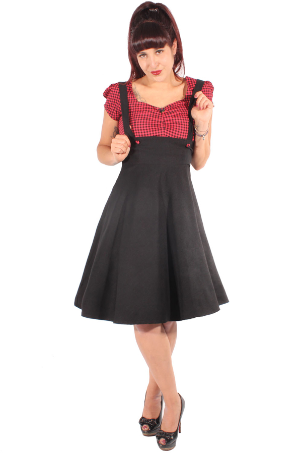 Retro Gingham Petticoatkleid Pin Up Hosenträger Swing Kleid Kariert