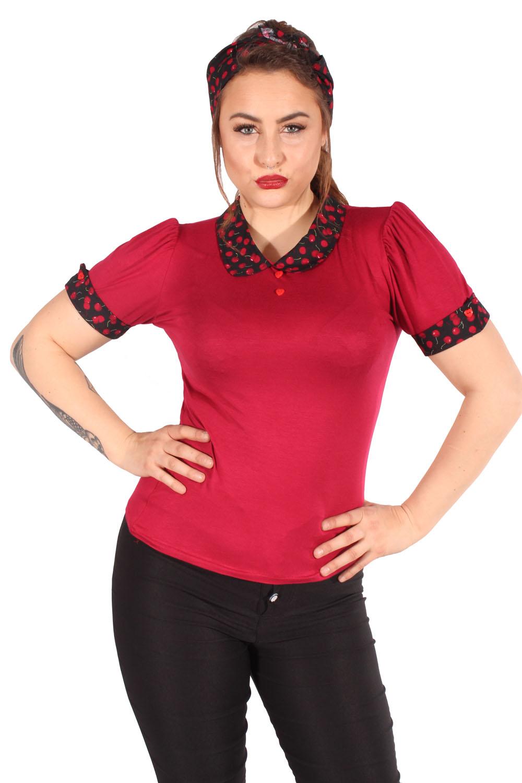 Retro Kirschen Bubikragen Puffärmel Rockabilly Cherry T-Shirt weinrot