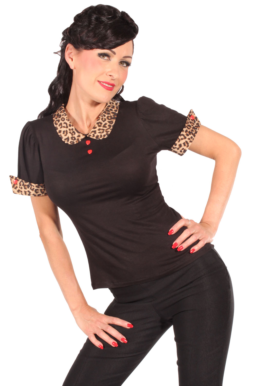 Retro Leo Bubikragen Puffärmel Rockabilly Leoparden T-Shirt schwarz