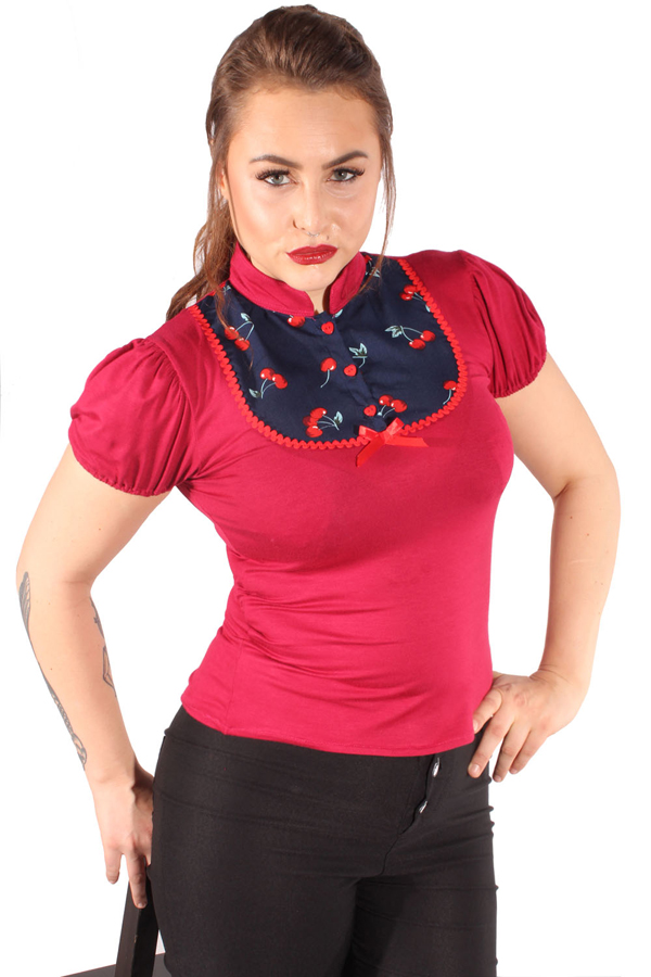 Retro Kirschen Puffärmel pin up Rockabilly Cherry T-Shirt weinrot