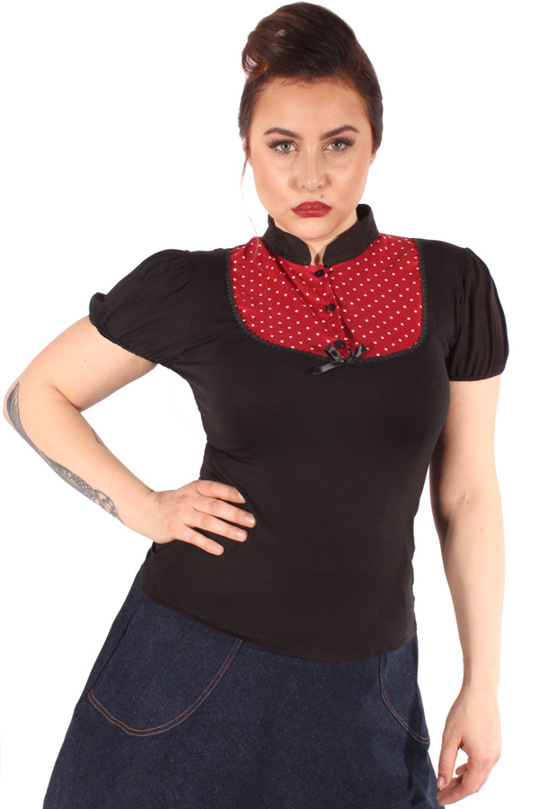 Retro Polka dots Puffärmel pin up Rockabilly T-Shirt sw-weinrot