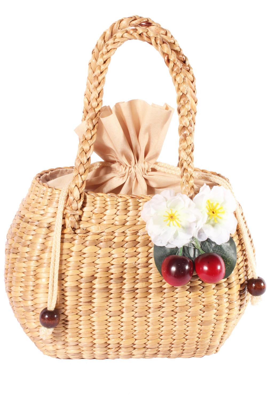 Cherry Kirschblüten pin up rockabilly Kirschen Bastkorb Bast Handtasche