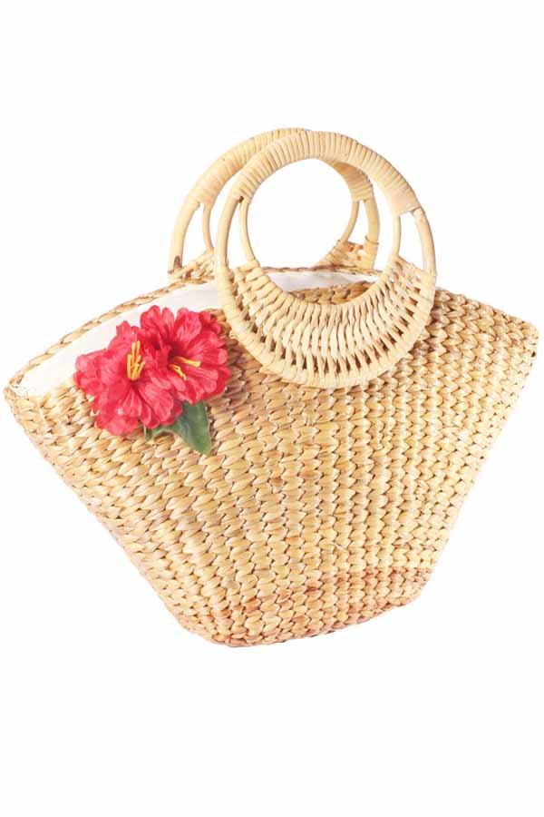Hawaii Flower rockabilly 50s Hibiskus Blüten Bast Korb Handtasche