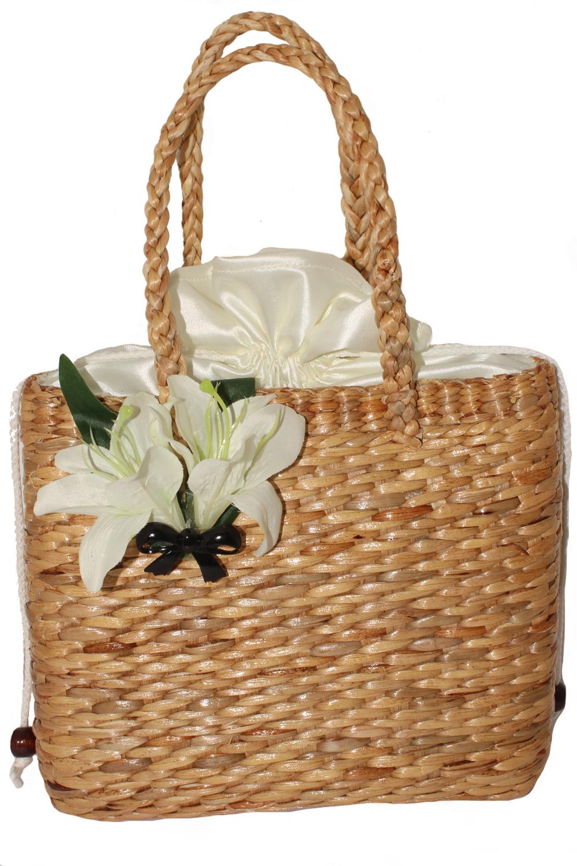 retro Lilien pin up rockabilly Blüten Schleife Bastkorb Bast Handtasche