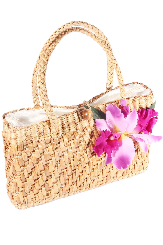 retro Orchideen pin up rockabilly Blüten Orchid Bastkorb Bast Handtasche