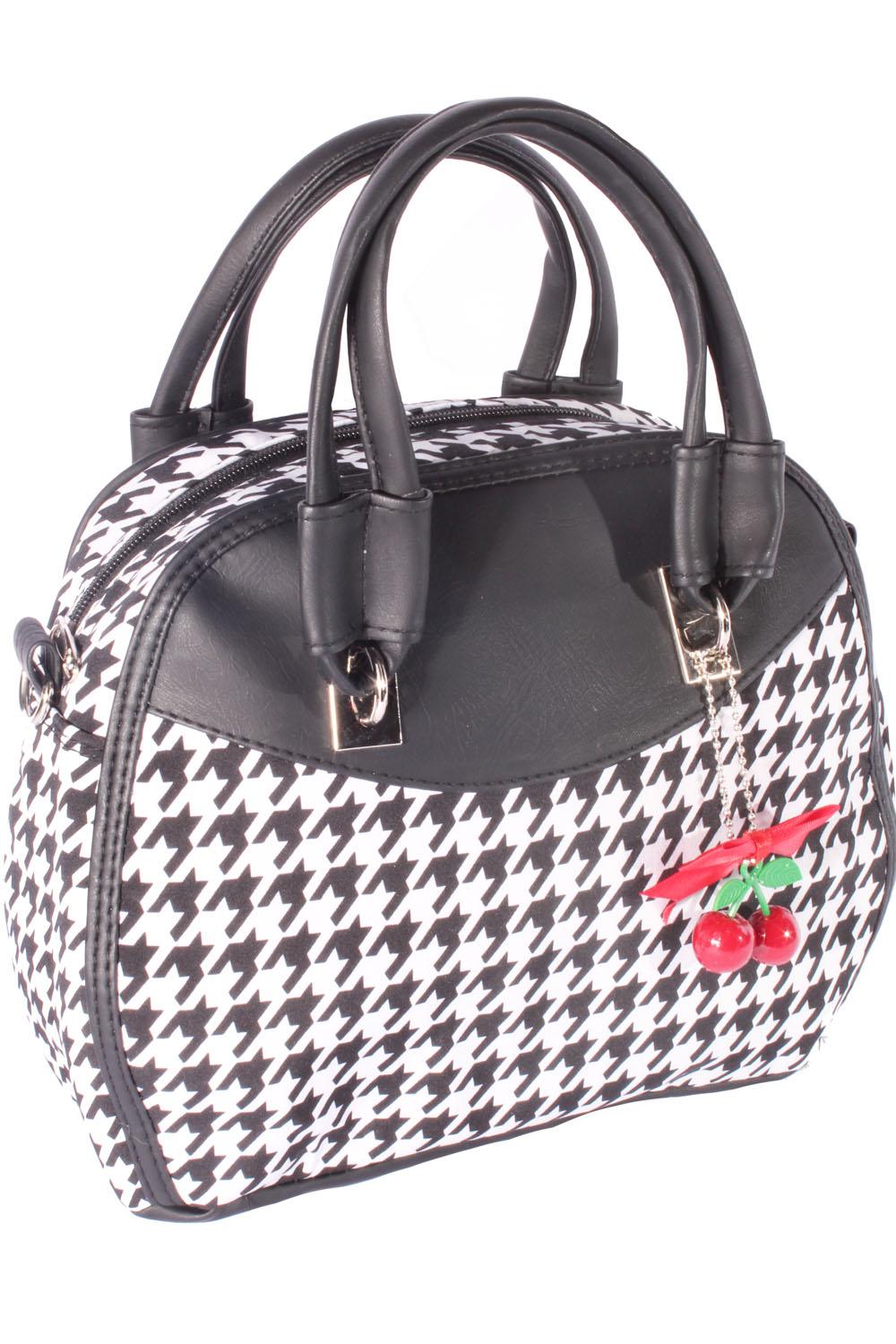 Rockabilly Pepita Bow 50er Jahre Hahnentritt Handtasche Tasche