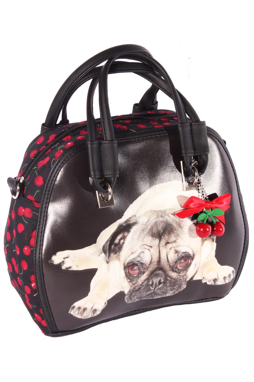 Mops Rockabilly Cherry Pug Kirschen Handtasche Hunde Tasche Schwarz