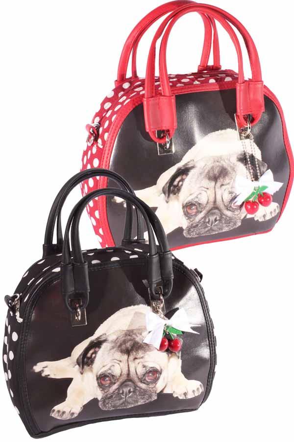 Polka Dots Mops rockabilly Cherry Bow Handtasche Hunde Pug Dog Tasche