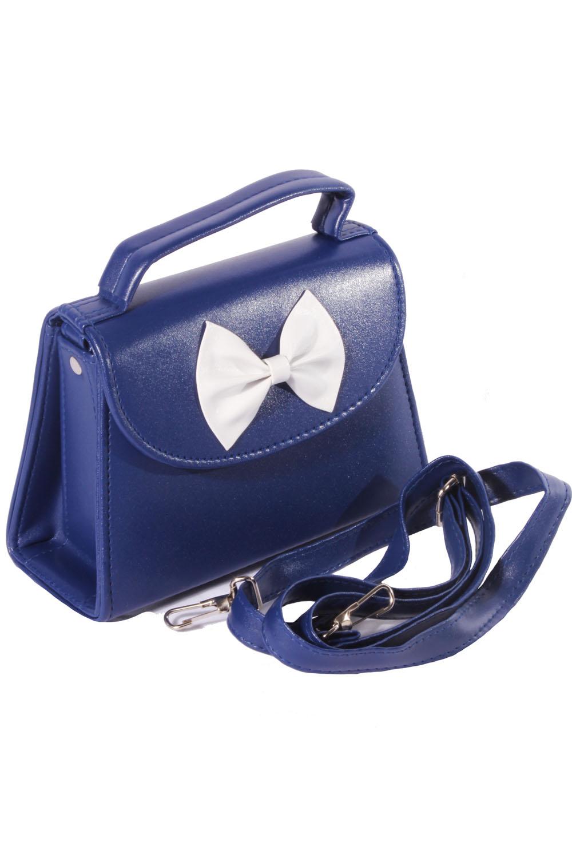 marine rockabilly Sailor Tasche Bow Köfferchen Handtasche marineblau