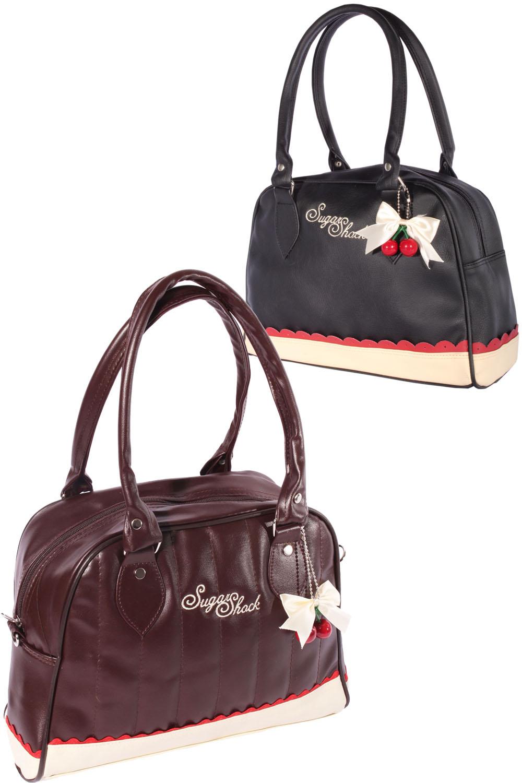 Budapester Rüschen Cherry Bow rockabilly Bowling Handtasche Tasche
