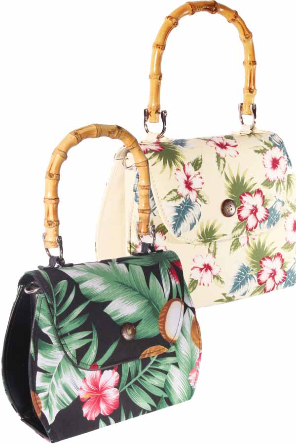 retro Hibiskus Blüten Hawaii Flower Rockabilly Bambus Handtasche