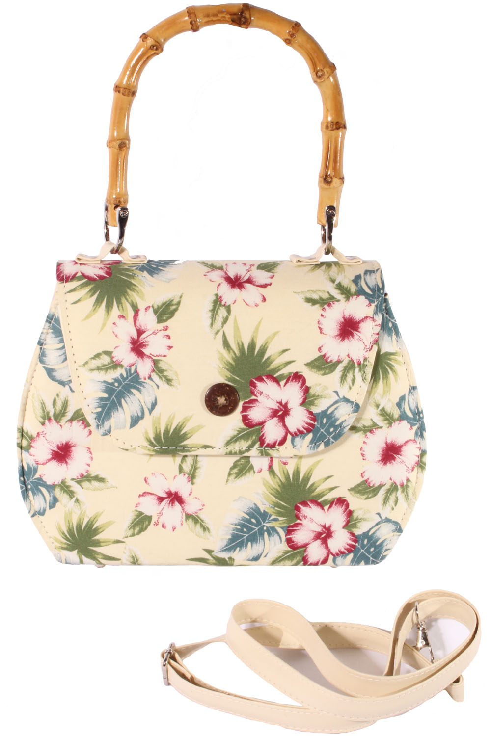 retro Hawaii Flower Hibiskus Blüten Rockabilly Bambus Handtasche