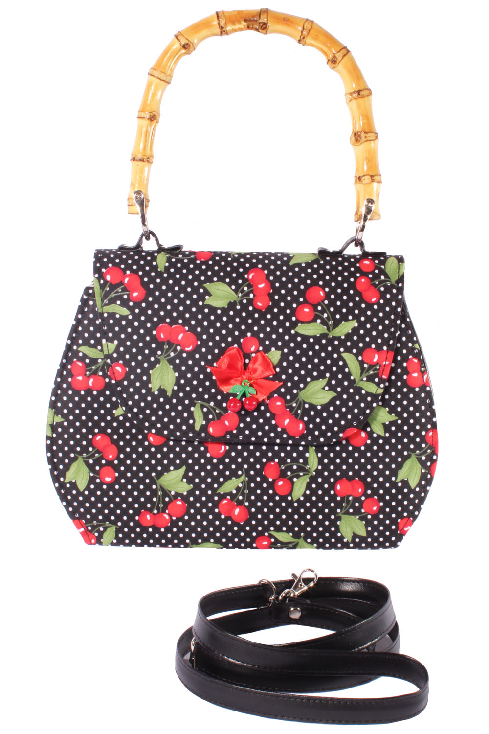 retro Cherry Polka Dots Rockabilly Kirschen Bambus Handtasche Köfferchen