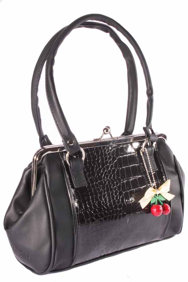50er rockabilly Krokodil Optik Lack retro Schleife Kisslock Handtasche
