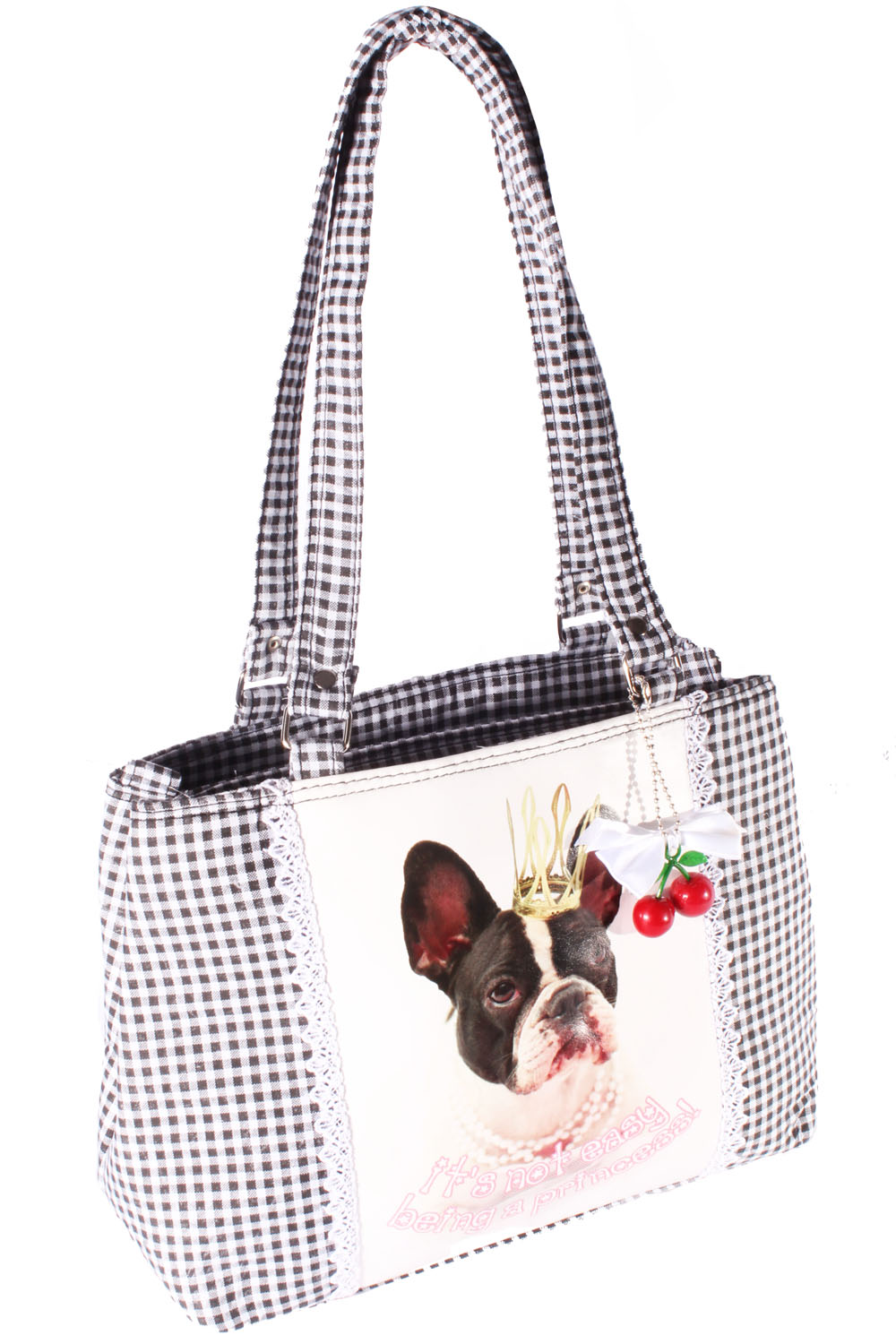 Bulldog Gingham Uniform Polka Dots rockabilly Bulldogge Handtasche