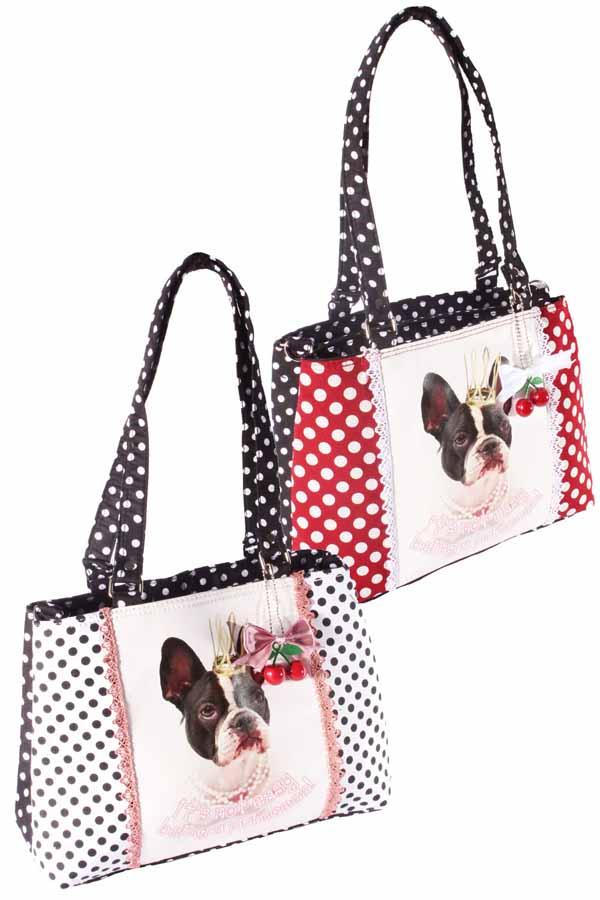 französische Bulldogge Polka Dots Handtasche Hunde Bulldog Tasche