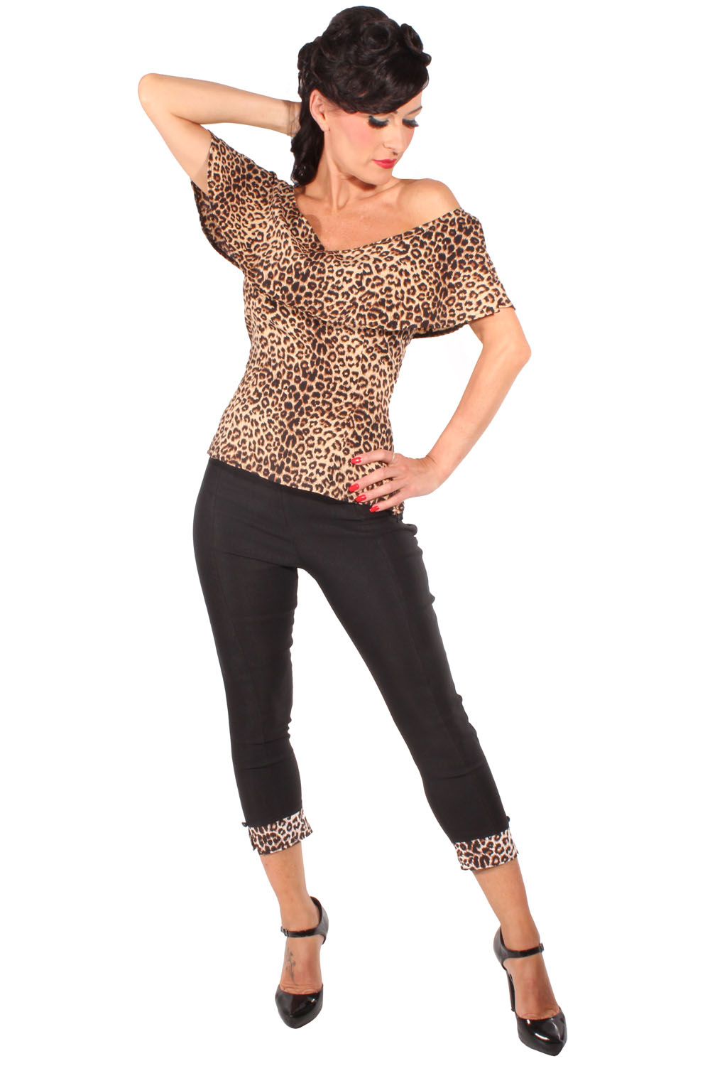Leo rockabilly Volant Shirt retro Leoparden Carmen Sommer Top braun