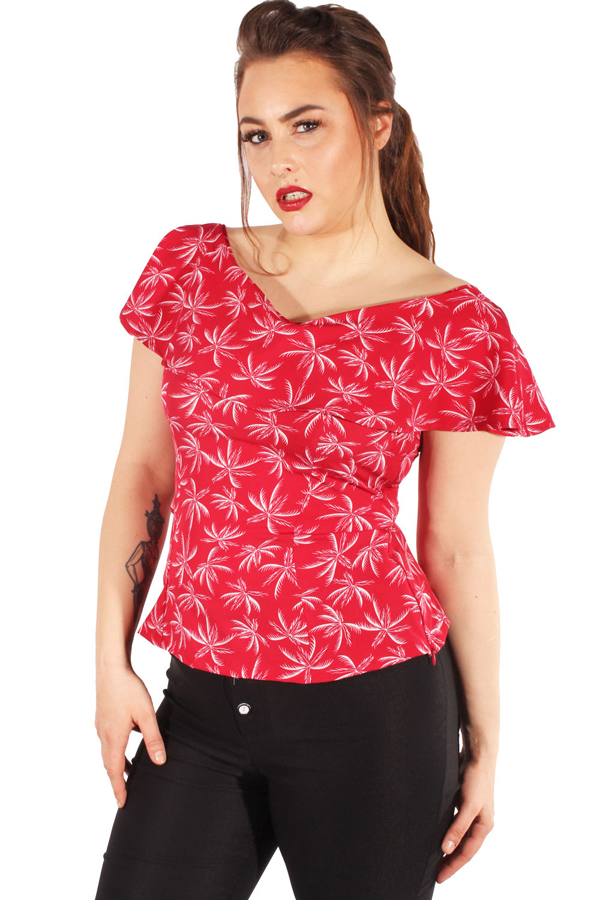 Hawaii Palmen rockabilly Volant Shirt retro Carmen Palmen Sommer Top