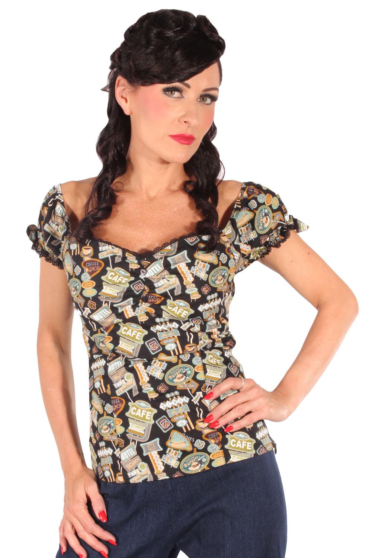 50er Jahre Diner retro rockabilly Carmen Puffärmel Shirt Top schwarz