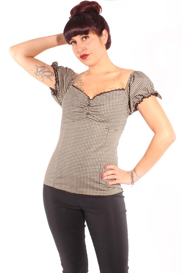 Country Gingham Herzchen rockabilly Carmen Puffärmel Shirt Top