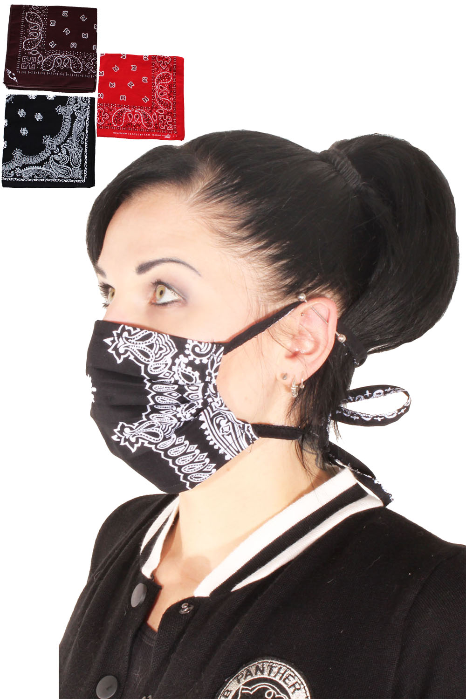 Paisley rockabilly Bandana Haarband Stoffmaske selbstmachen 3er Set B)
