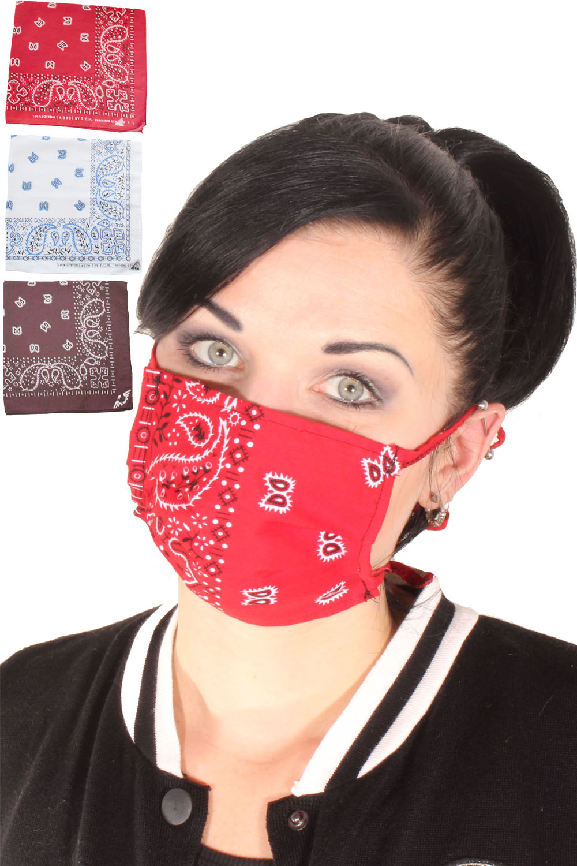 3x Paisley rockabilly Bandana Gesichtsmaske Stoffmaske selbst machen D)