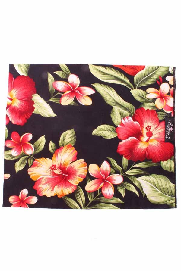 Hibiskus Hawaii rockabilly Hawaiiblüten Tuch Bandana Haarband schwarz