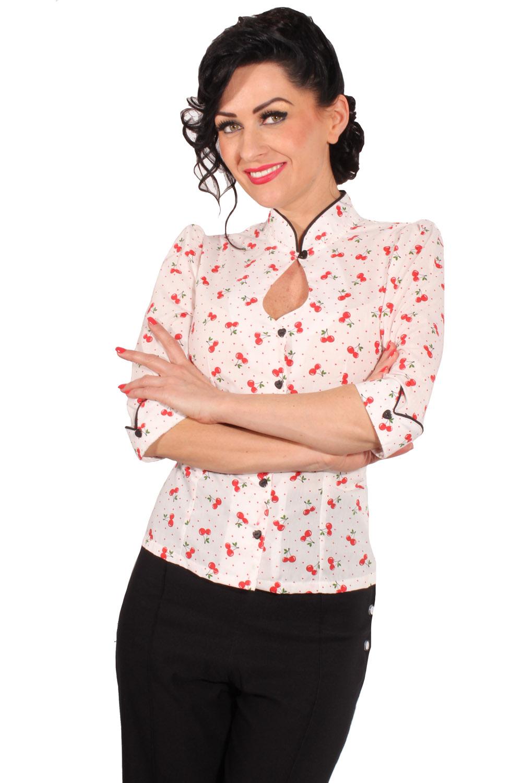 Polka Dots Kirschen Rockabilly Keyhole Stehkragen 3/4-Arm Cherry Bluse