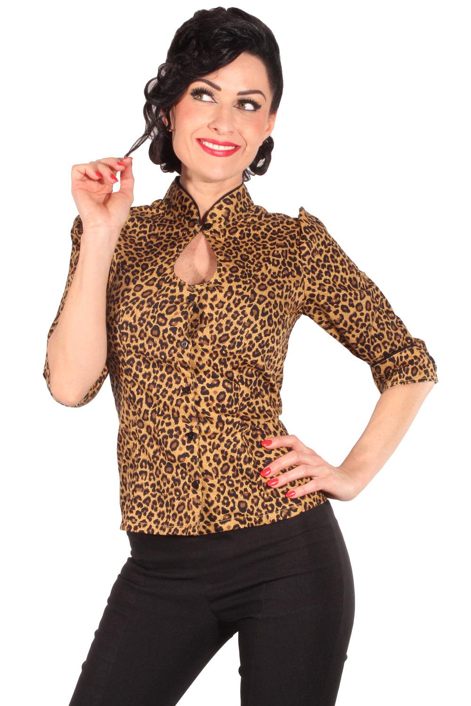 Leo Keyhole Rockabilly Puffarm Stehkragen Leoparden 3/4-Arm Bluse