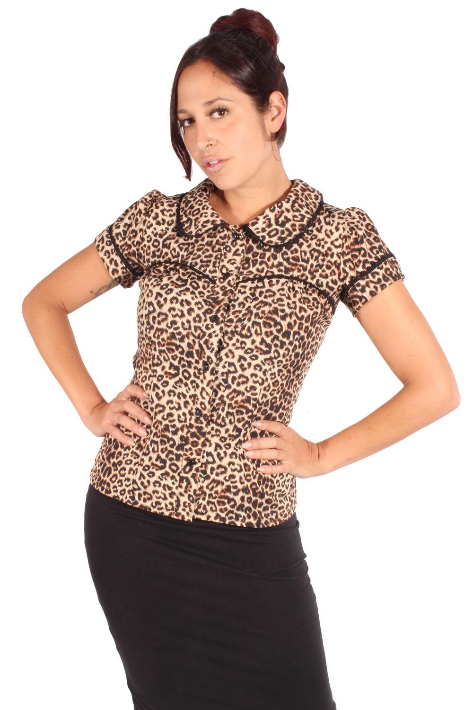 Rockabilly Leoparden Puffärmel Bubikragen Leo retro Bluse Rückenfrei