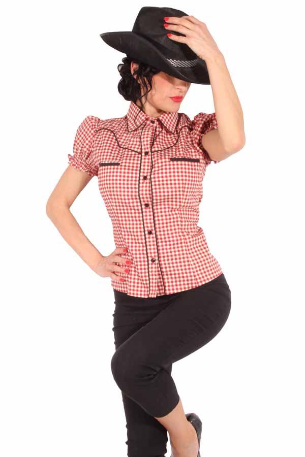 Rockabilly Country Gingham Cowgirl Puffärmel Western Hemd Bluse