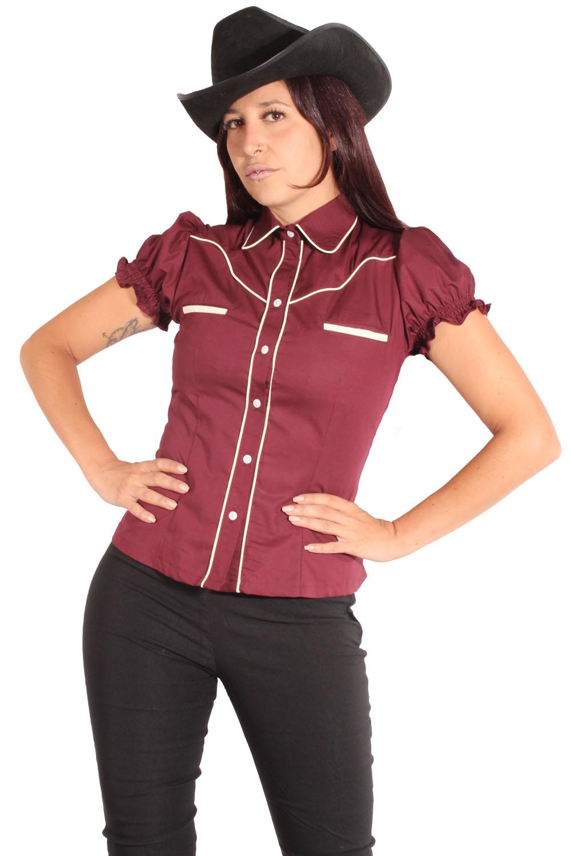 Rockabilly Country Cowgirl Puffärmel Western Hemd Bluse Weinrot