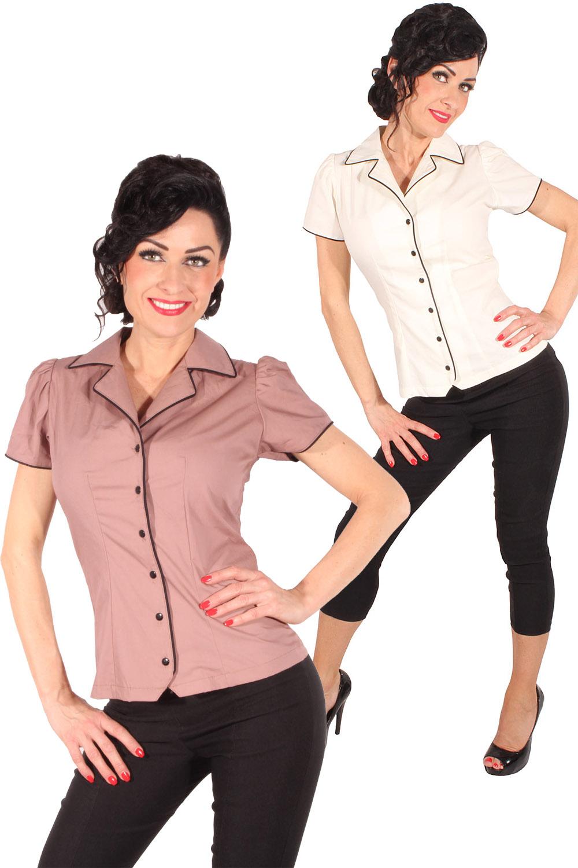 retro Rockabilly Diner Puffärmel Hemd vintage Bluse einfarbig