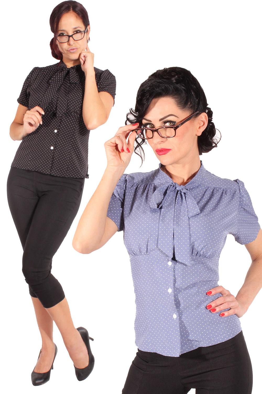 Retro Rockabilly Polka Dots Schluppenbluse Rüschen Schluppen Bluse
