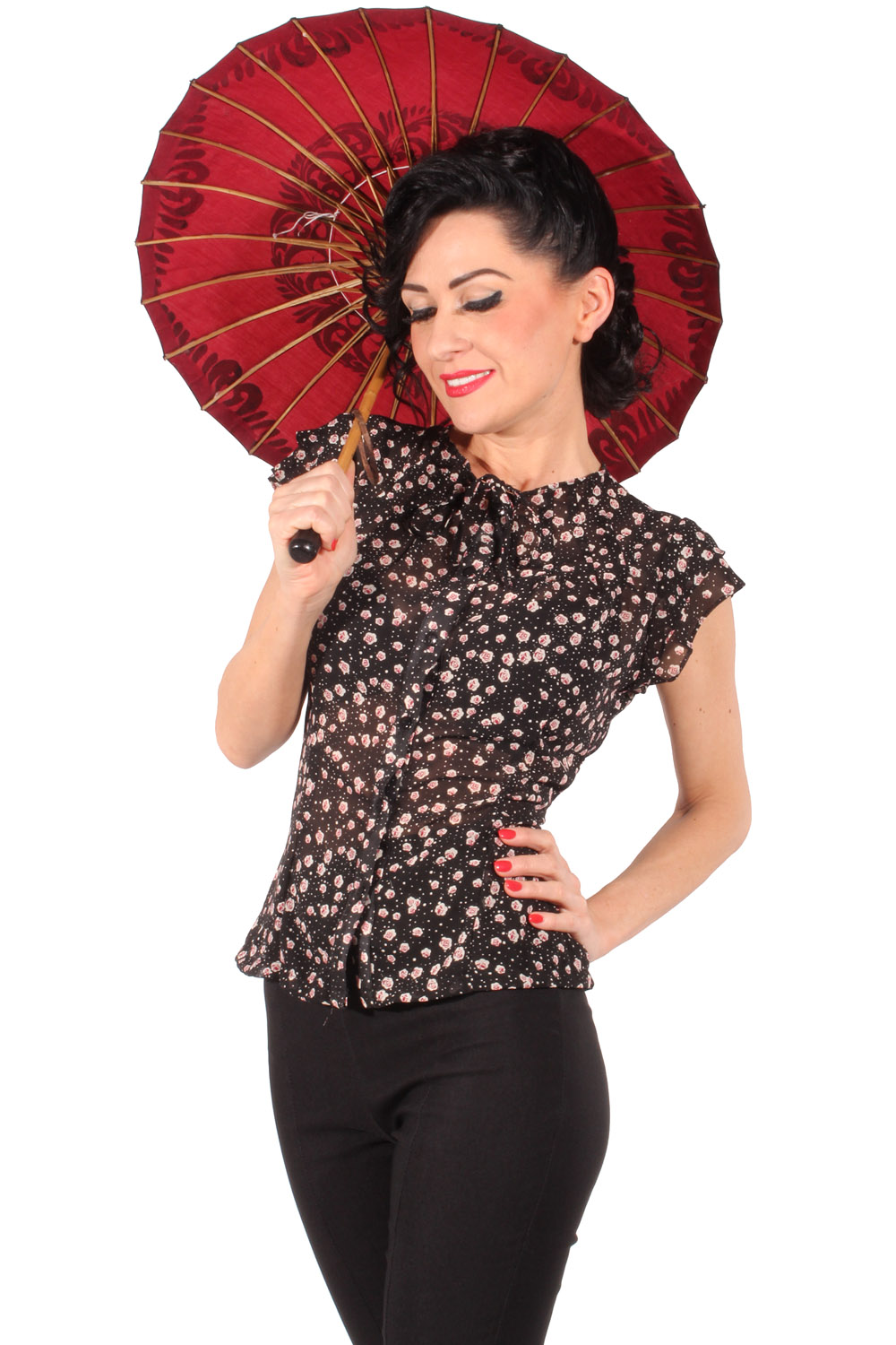 retro Rockabilly Schmetterlingsärmel Polka Dots Flower Chiffon Bluse