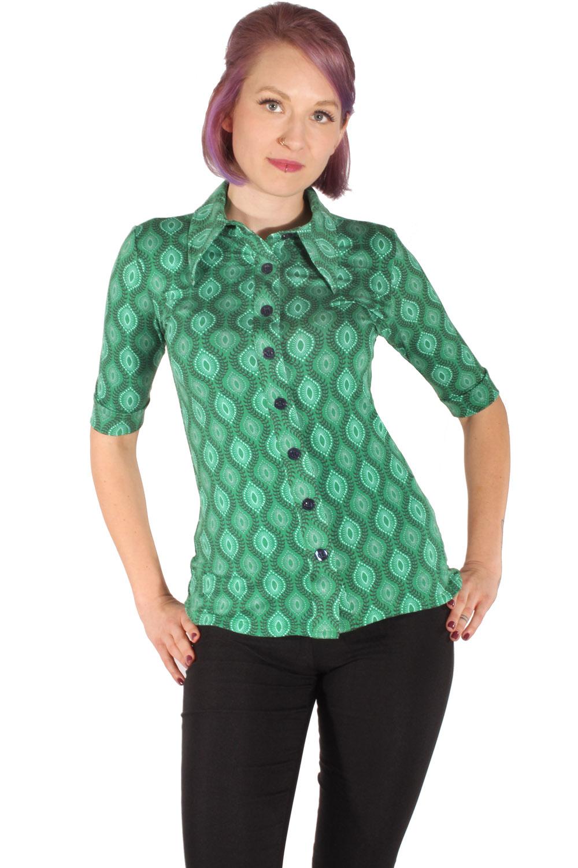 60er Jahre retro 3/4arm Stretch Jersey Shirt vintage Bluse grün
