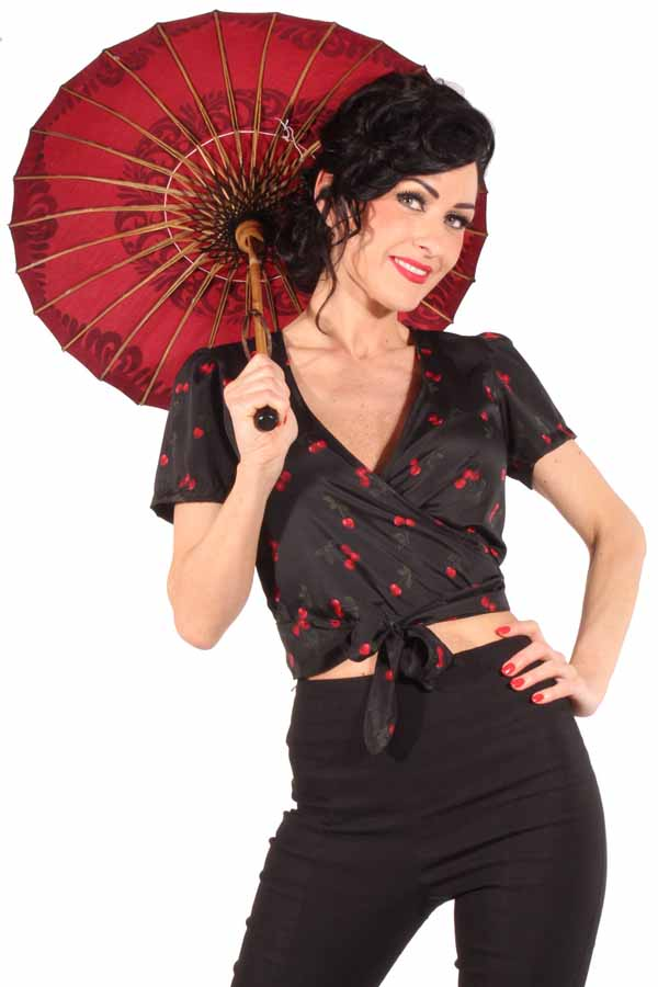 Cherry retro Wickel Bluse rockabilly Kirschen Country Wickelbluse schwarz