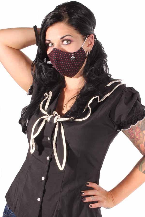 Polka Dots Strass Stern Gesichtsmaske Stoffmaske Behelfsmaske 3lagig