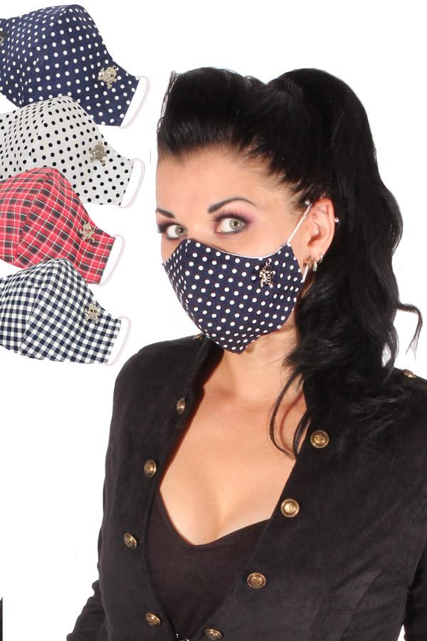 Totenkopf Gesichtsmaske Stoffmaske Skull Mundmaske Karo Dots 3lagig