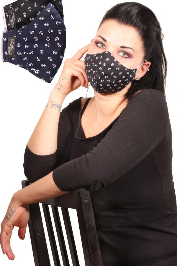 Maritime Anker Gesichtsmaske rockabilly marine Stoffmaske 3lagig