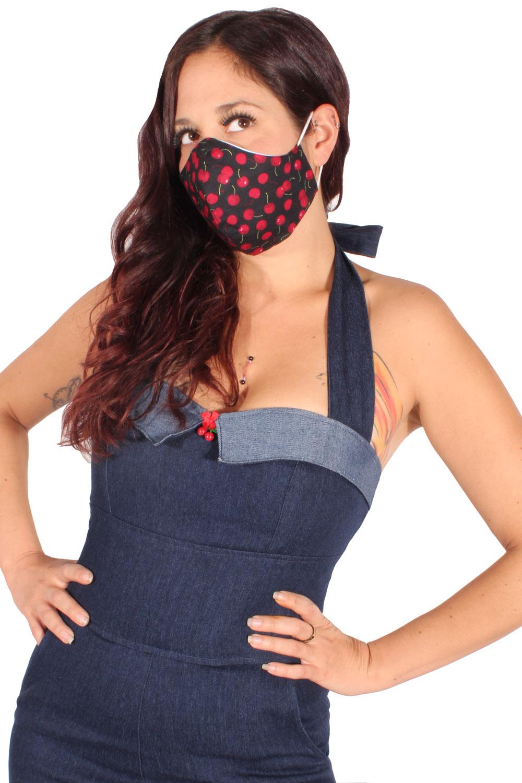 Gesichtsmaske Kirschen Stoffmaske rockabilly Mund-Nasen-Maske 3lagig