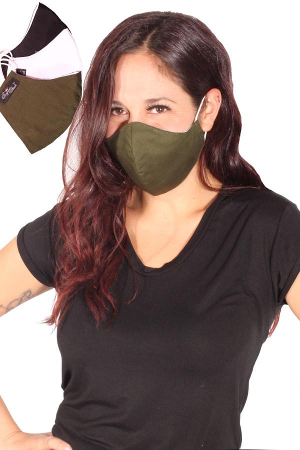 Gesichtsmaske Mund-Nasen-Maske Stoffmaske einfarbig 3lagig