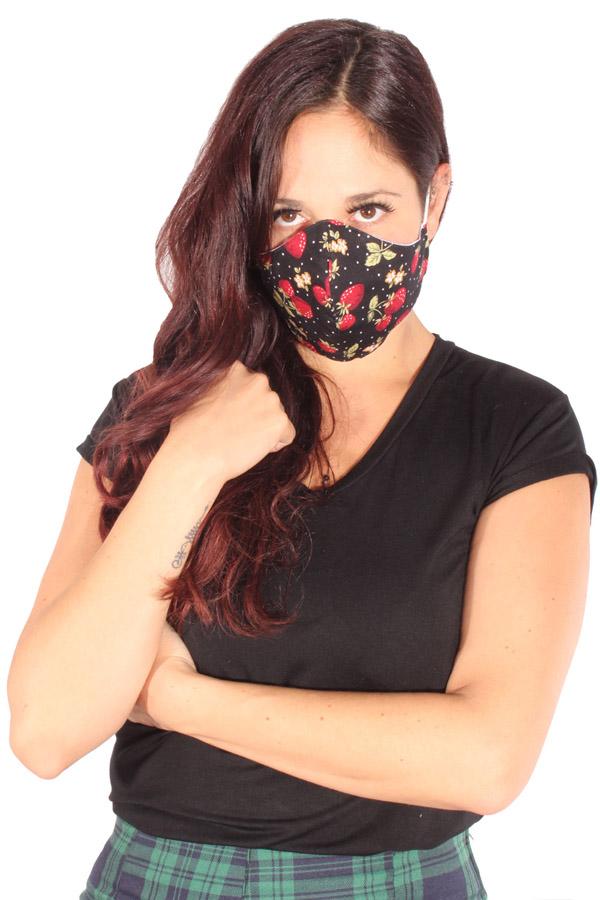 Gesichtsmaske Erdbeer Stoffmaske rockabilly Mund-Nasen-Maske 3lagig