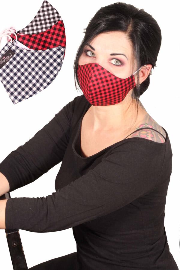 Gingham Gesichtsmaske rockabilly Karo Stoffmaske 3lagig