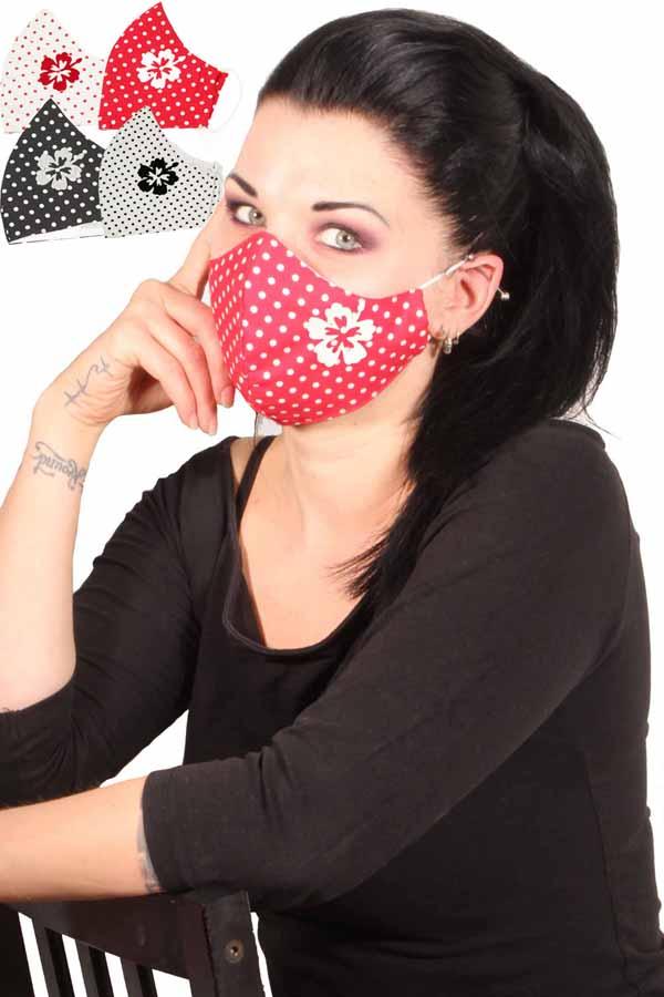 Polka Dots Stoffmaske Behelfsmaske Hibiskus Blume Mundmaske 3lagig