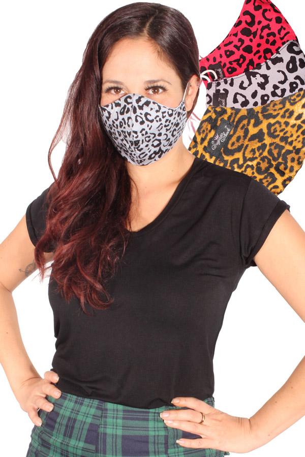 Gesichtsmaske Leo Mund-Nasen-Maske Leopard Stoffmaske 3lagig