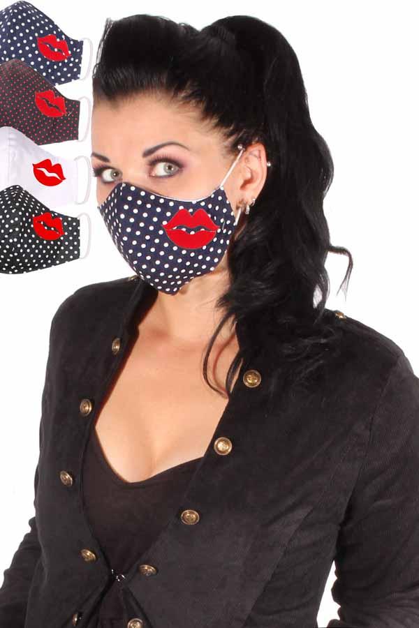 Gesichtsmaske Lippe Stoffmaske Behelfsmaske Kuss Mundmaske 3lagig