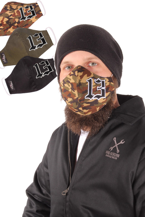 rockabilly 13 Gesichtsmaske Stoffmaske Behelfsmaske Mundmaske 3lagig