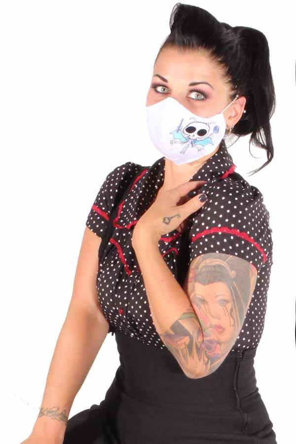 Süße Evil needs Candy Gesichtsmaske Stoffmaske Mundmaske Skull 3lagig